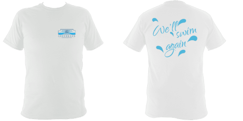 OPTION 2a - UNISEX regular fit tee-shirt with logo over left chest and 'We'll swim again' on reverse