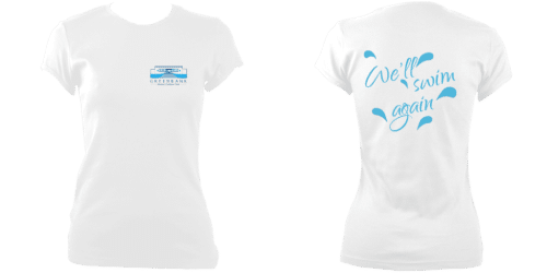 OPTION 2b - Womens fitted tee-shirt with logo over left chest and 'We'll swim again' on reverse