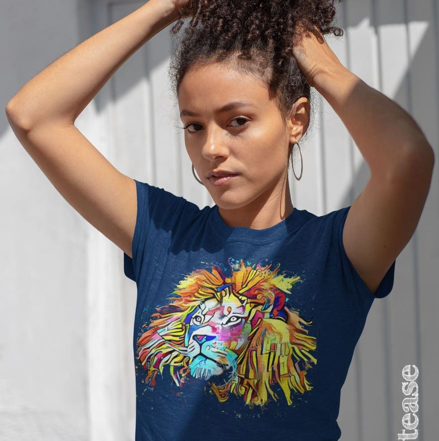 Girl wearing a colourful lion motif tee-shirt - Greenbank Pool Prize Draw sponsored by #Toptease